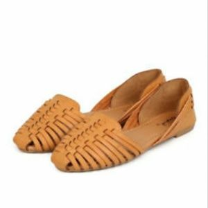 Tan flat slip on sandals
